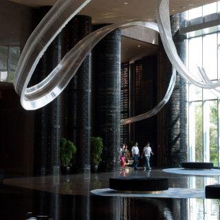 hanging glass art installation located in shangai IHG Lobby lg