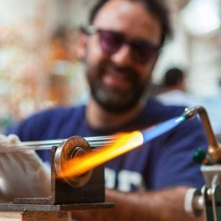 Glass artist making hanging glass art at Bukit Tunku
